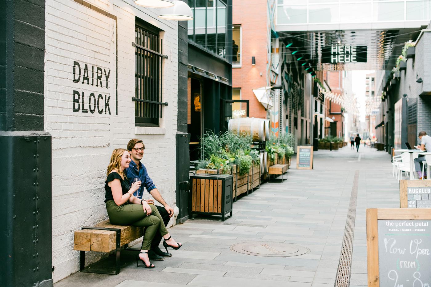 couple enjoying the sites at dairy block denver